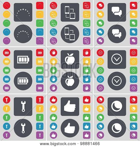 Star, Connection, Chat, Battery, Apps, Arrow Down, Wrench, Like, Moon Icon Symbol. A Large Set Of Fl