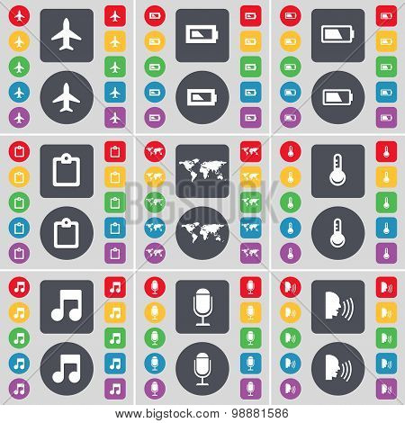 Airplane, Battery, Survey, Globe, Thermometer, Note, Microphone, Talk Icon Symbol. A Large Set Of Fl