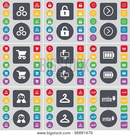 Gear, Lock, Arrow Right, Shopping Cart, Mailbox, Battery, Avatar, Hanger, Keyboard Icon Symbol. A La