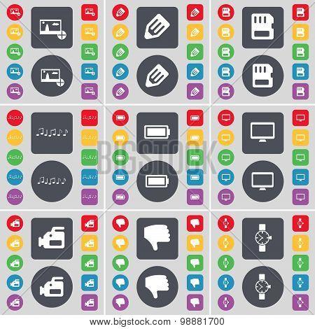 Picture, Pencil, Sim Card, Note, Battery, Monitor, Film Camera, Dislike, Wrist Watch Icon Symbol. A