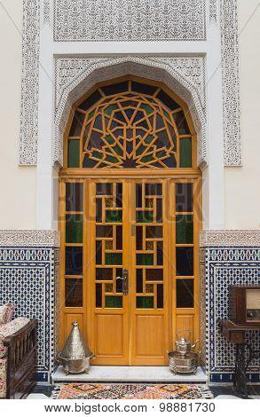Interior Of House In Arabian Style With Wooden Door