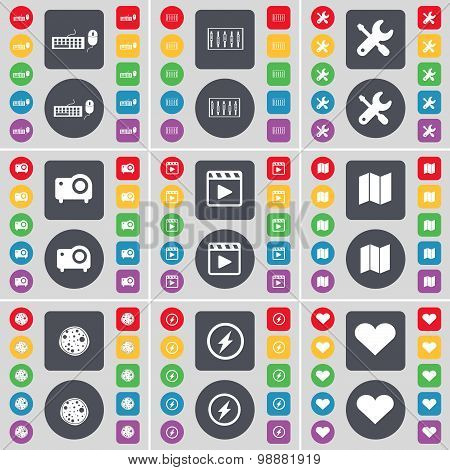 Keyboard, Equalizer, Wrench, Projector, Media Player, Map, Pizza, Flash, Heart Icon Symbol. A Large