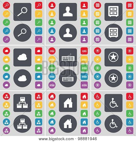 Magnifying Glass, Avatar, Bed-table, Cloud, Keyboard, Star, Network, House, Disabled Person Icon Sym