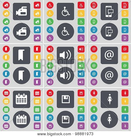 Film Camera, Disabled Person, Sms, Marker, Sound, Mail, Calendar, Floppy, Silhouette Icon Symbol. A