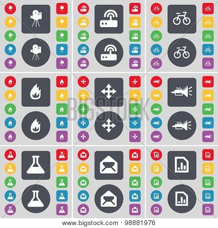 Film Camera, Router, Bicycle, Fire, Moving, Trumped, Flask, Message, Diagram File Icon Symbol. A Lar