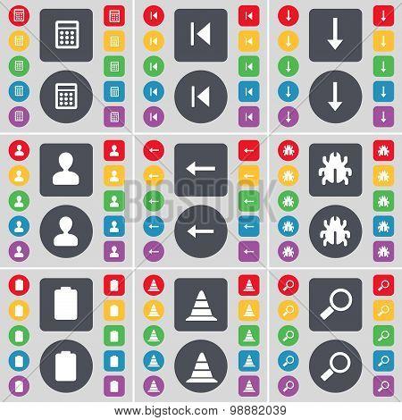 Calculator, Media Skip, Arrow Down, Avatar, Arrow Left, Bug, Battery, Cone, Magnifying Glass Icon Sy