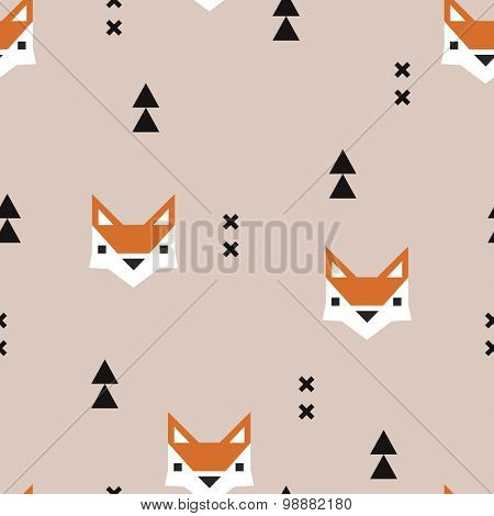 Seamless geometric fox kids fall illustration aztec arrows cute background pattern in vector in beige and orange
