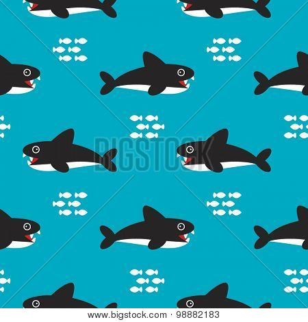 Seamless kids sea life ocean animals illustration shark fish australian theme background pattern in vector