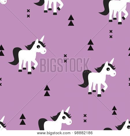 Seamless kids pink violet geometric unicorn magical fantasy animals and triangle aztec details illustration background pattern in vector
