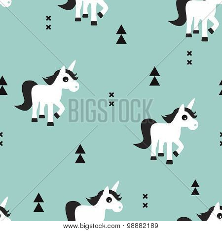 Seamless kids mint geometric unicorn magical fantasy animals and triangle aztec details illustration background pattern in vector