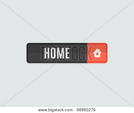 Home web button. Modern flat design, paper graphic, website icon and design element