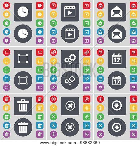 Clock, Media Player, Message, Frame, Gear, Calendar, Trash Can, Stop, Arrow Down Icon Symbol. A Larg