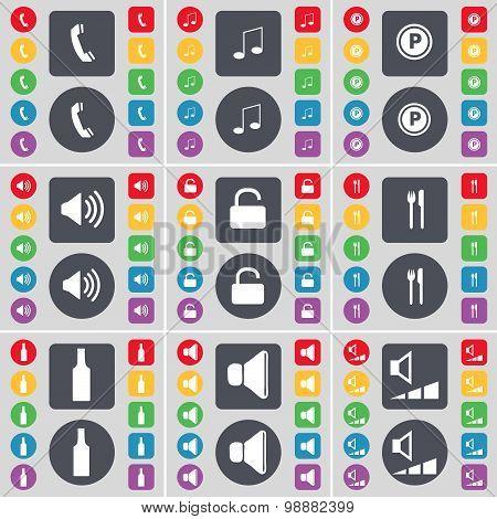Receiver, Note, Parking, Sound, Lock, Fork And Knife, Bottle, Sound, Volume Icon Symbol. A Large Set