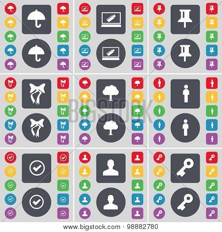 Umbrella, Laptop, Pin, Bow, Tree, Silhouette, Tick, Avatar, Key Icon Symbol. A Large Set Of Flat, Co