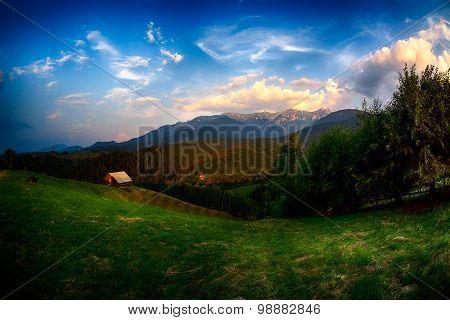 Evening, Sunset On Mountain Hills Of Simon Village. Bran.