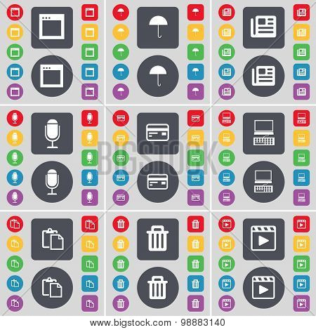 Window, Umbrella, Newspaper, Microphone, Credit Card, Laptop, Survey, Trash Can, Media Player Icon S