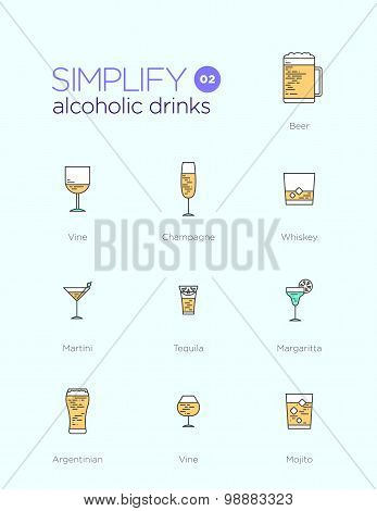 Line icons with flat design elements of alcoholic drinks