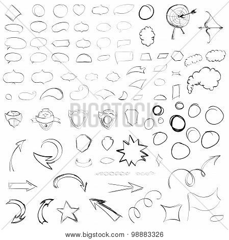 Pencil Sketches.hand Drawn Scribble Shapes. A Set Of Doodle Line Drawings. Vector Design Elements Fo