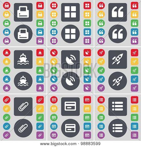 Printer, Apps, Quotation Mark, Ship, Satellite Dish, Rocket, Clip, Credit Card, List Icon Symbol. A