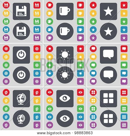 Floppy, Cup, Star, Power, Light, Chat Bubble, Globe, Vision, Apps Icon Symbol. A Large Set Of Flat,