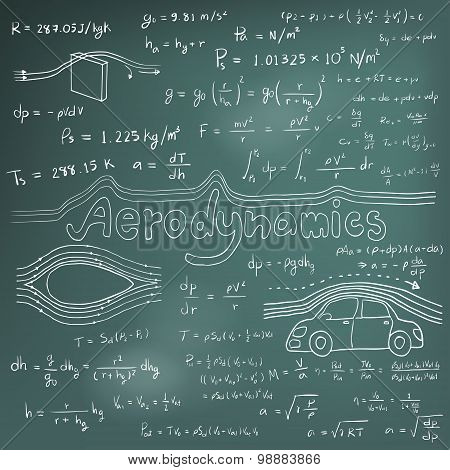 Aerodynamics Law Theory And Physics Mathematical Formula Equation, Doodle Handwriting Icon In Blackb