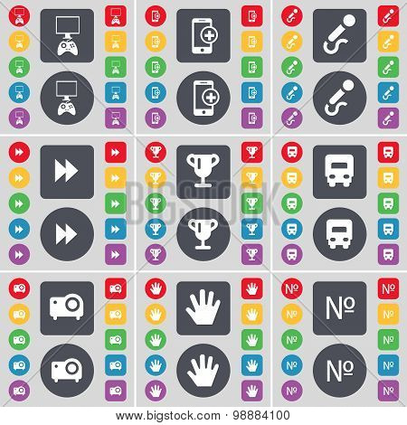 Gamepad, Smartphone, Microphone, Rewind, Cup, Truck, Projector, Hand, Number Icon Symbol. A Large Se