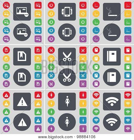 Picture, Smartphone, Cigarette, File, Scissors, Notebook, Warning, Silhouette, Wi-fi Icon Symbol. A