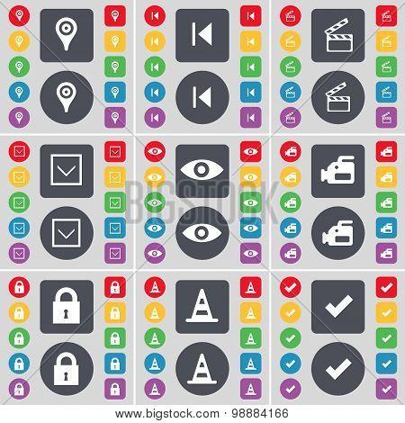 Checkpoint, Media Skip, Clapper, Arrow Down, Vision, Film Camera, Lock, Cone, Tick Icon Symbol. A La
