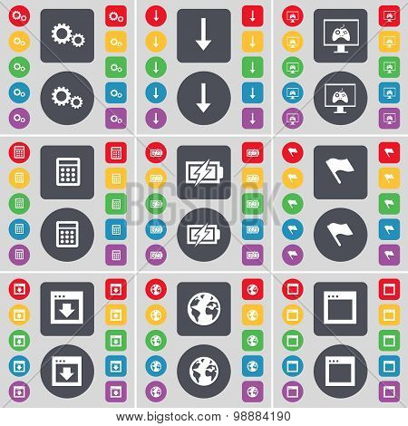 Gear, Arrow Down, Monitor, Calculator, Charging, Flag, Window, Earth, Window Icon Symbol. A Large Se