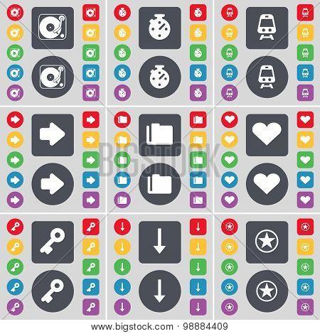 Gramophone, Stopwatch, Train, Arrow Right, Folder, Heart, Key, Arrow Down, Star Icon Symbol. A Large
