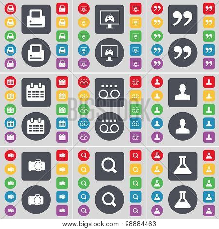 Printer, Monitor, Quotation Mark, Calendar, Cassette, Avatar, Camera, Magnifying Glass, Flask Icon S