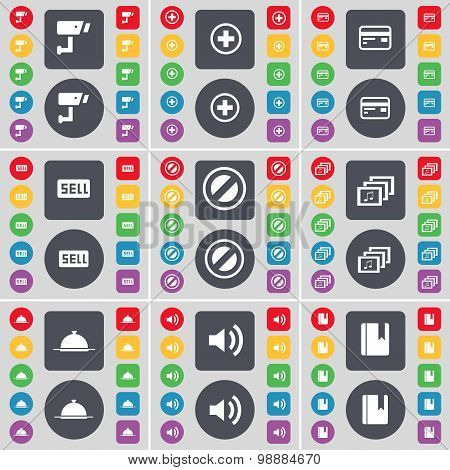 Cctv, Plus, Credit Card, Sell, Stop, Gallery, Tray, Sound, Dictionary Icon Symbol. A Large Set Of Fl
