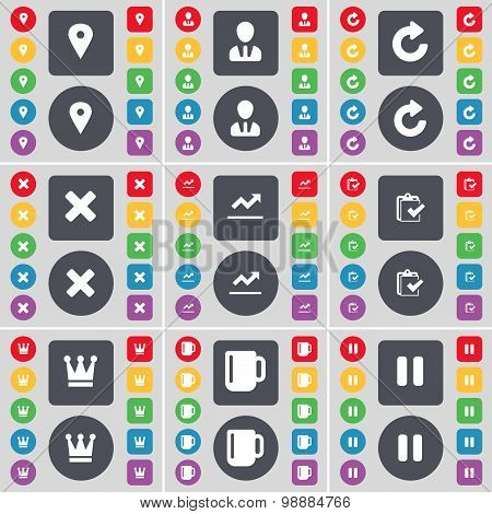 Checkpoint, Avatar, Reload, Stop, Graph File, Survey, Crown, Cup, Pause Icon Symbol. A Large Set Of