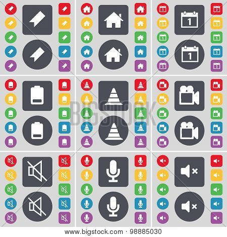 Marker, House, Calendar, Battery, Cone, Film Camera, Mute, Microphone, Mute Icon Symbol. A Large Set