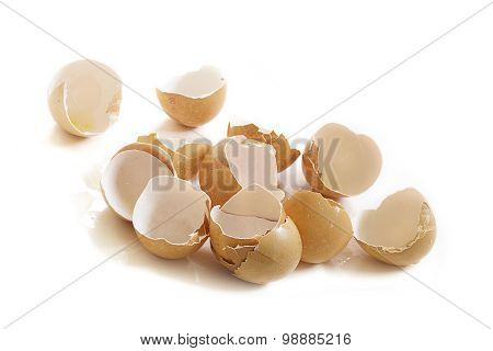 Empty Broken Eggshells Isolated On White