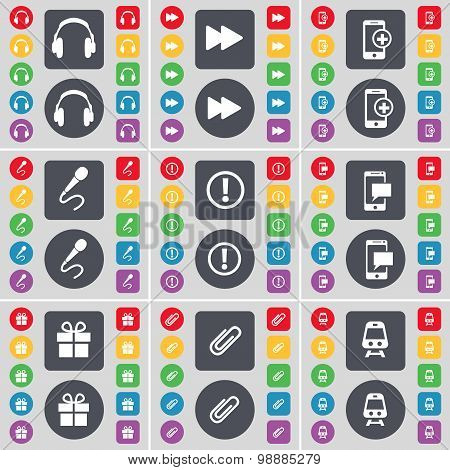 Headphones, Rewind, Smartphone, Microphone, Warning, Sms, Gift, Clip, Train Icon Symbol. A Large Set