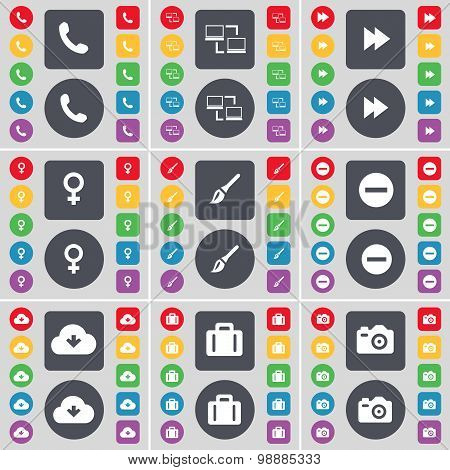 Receiver, Connetion, Rewind, Venus Symbol, Brush, Minus, Cloud, Suitcase, Camera Icon Symbol. A Larg