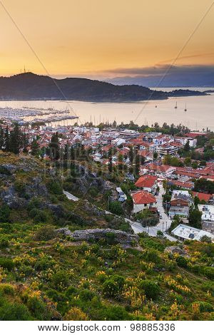 Sunset view of the city and mountains, Fethiye Turkey