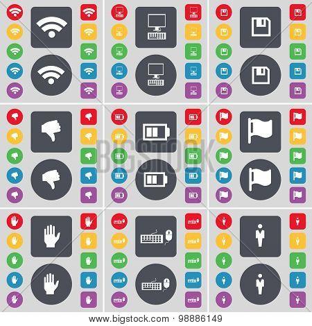 Wi-fi, Pc, Floppy, Dislike, Battery, Flag, Hand, Keyboard, Silhouette Icon Symbol. A Large Set Of Fl