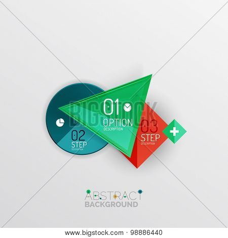 Geometric abstract shape infographic layouts, colorful buttons with text