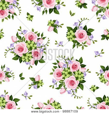 Vector seamless pattern with roses and freesia flowers.