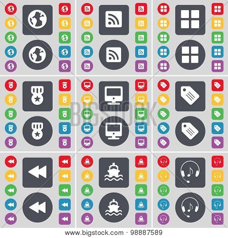 Earth, Rss, Apps, Medal, Monitor, Tag, Rewind, Ship, Headphones Icon Symbol. A Large Set Of Flat, Co