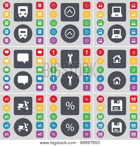 Truck, Arrow Up, Laptop, Chat Bubble, Wrench,  House, Scooter, Percent, Floppy Icon Symbol. A Large