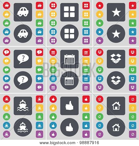Car, Apps, Star, Chat Bubble, Calendar, Dropbox, Ship, Like, House Icon Symbol. A Large Set Of Flat,