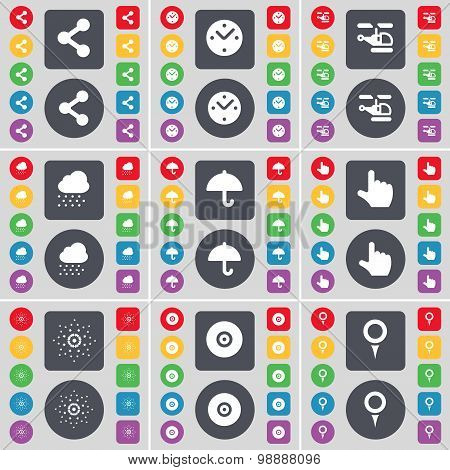 Share, Clock, Helicopter, Cloud, Umbrella, Hand, Star, Disk, Checkpoint Icon Symbol. A Large Set Of