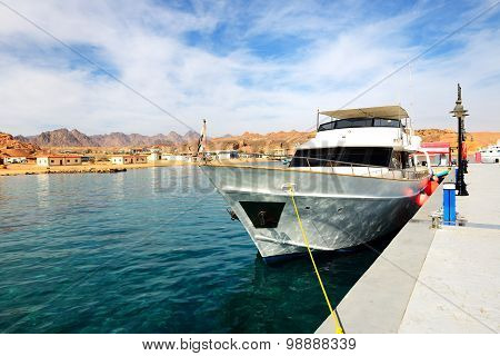 Motor Yacht On Red Sea In Harbor, Sharm El Sheikh, Egypt