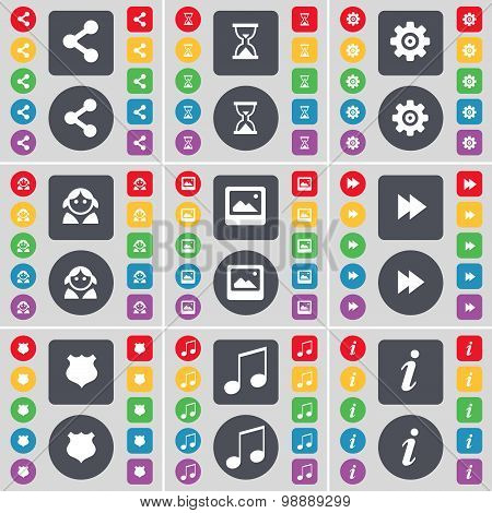 Share, Hourglass, Gear, Avatar, Window, Rewind, Police Badge, Note, Information Icon Symbol. A Large