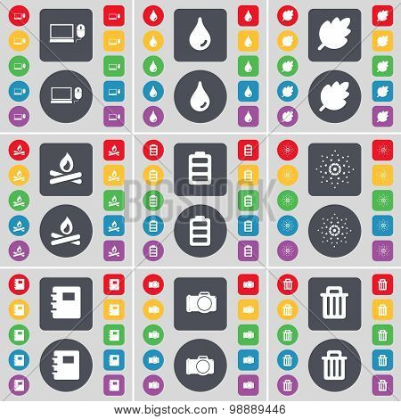 Laptop, Drop, Leaf, Campfire, Battery, Star, Notebook, Camera, Trash Can Icon Symbol. A Large Set Of