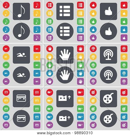 Note, List, Like, Swimmer, Hand, Wi-fi, Credit Card, Cassette, Palette Icon Symbol. A Large Set Of F