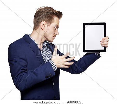 Angry Young Man And Tablet Pc